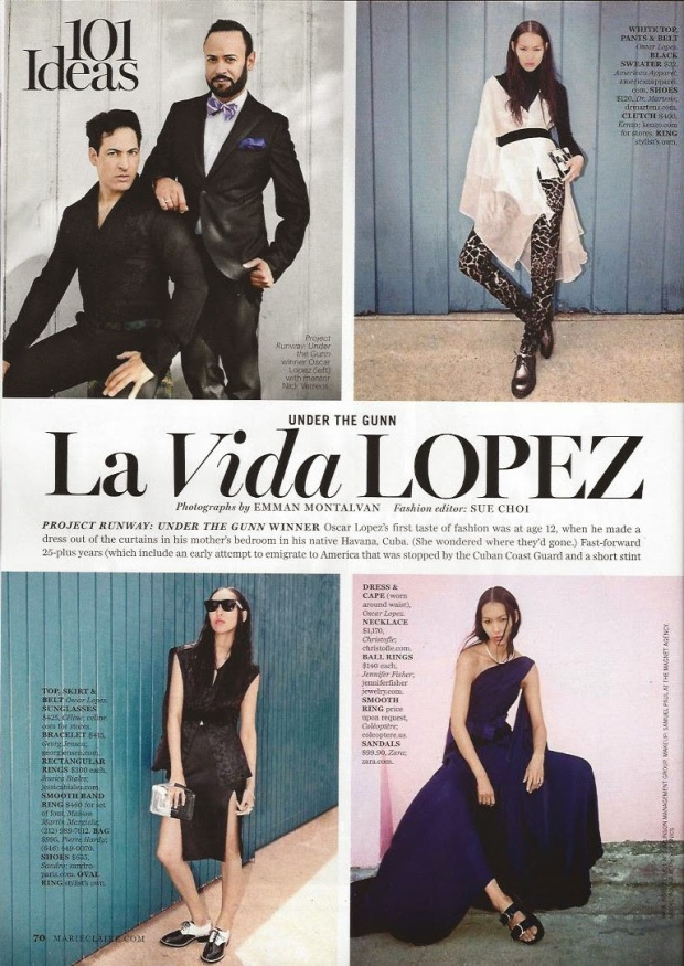 Nick Verreos Blogs about Oscar Lopez, and the Marie Claire Shoot for Under The Gunn