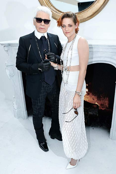 Kristen Stewart and Karl Lagerfeld at Chanel Haute Couture Show, Paris for F2014