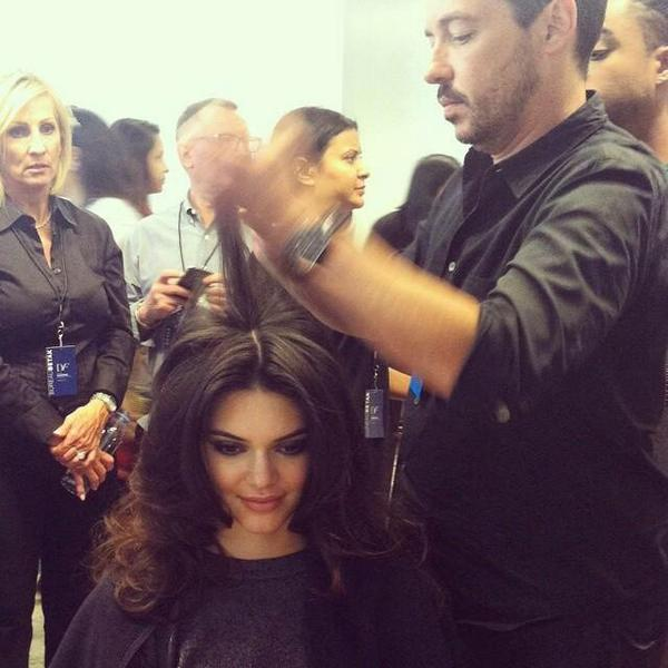 BioSilk Hair Team doing Kendall Jenner's Hair for DVF SS15