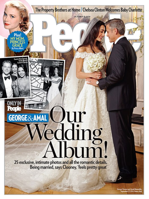 Amal Alamudin and George Clooney on People Magazine's Cover (Amal in Oscar De La Renta)