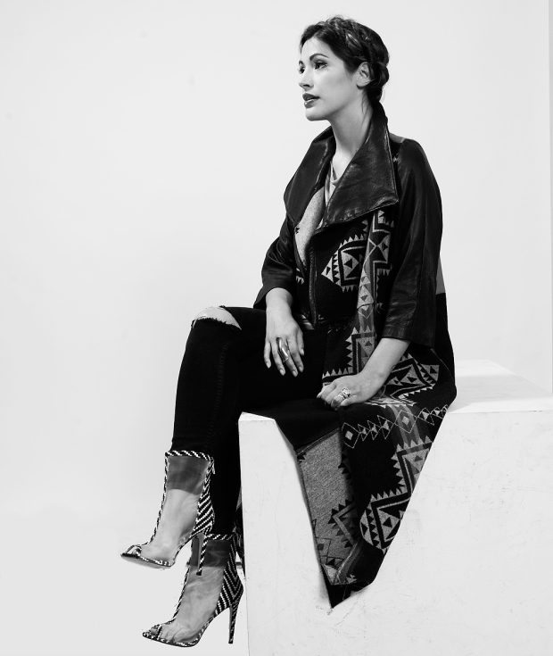 Designer Korina Emmerich in a jacket from her Raven Collection