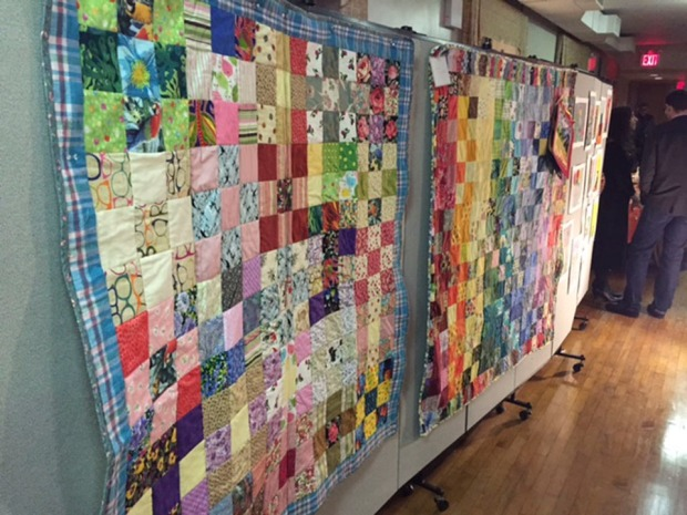 Quilts made by seniors in the Quilting Class at Prospect Hill Senior Center